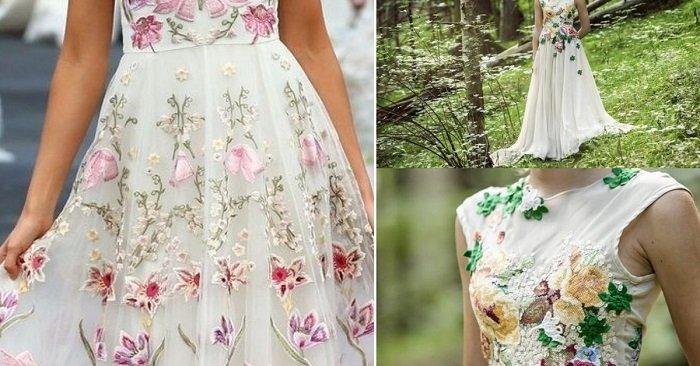 платья с вышивкой на рукавах