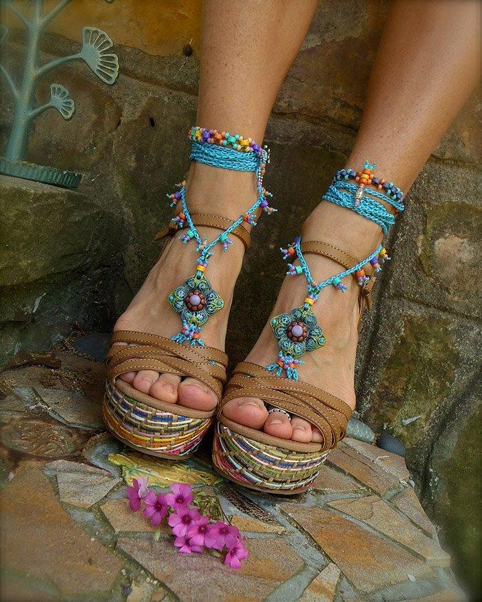 босые сандалии бохо
