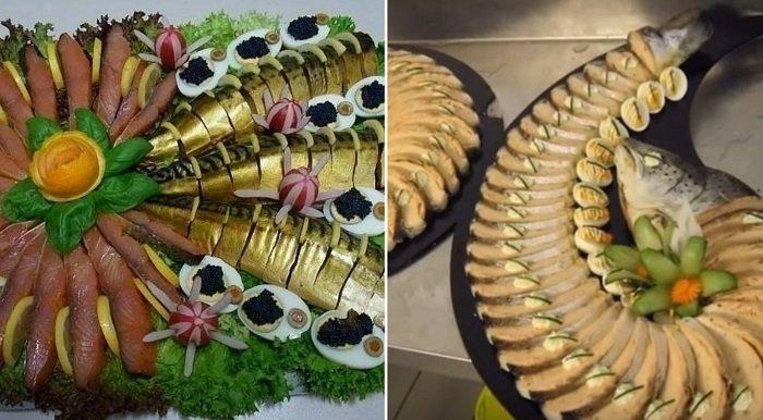 соленая рыба на столе