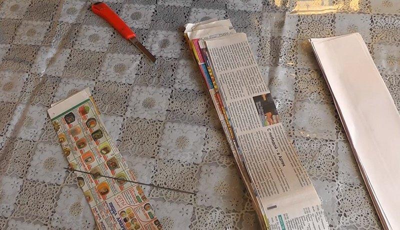 поделка из газетных трубочек елочка
