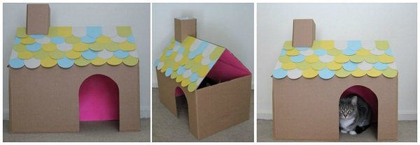 домик для кота из коробки