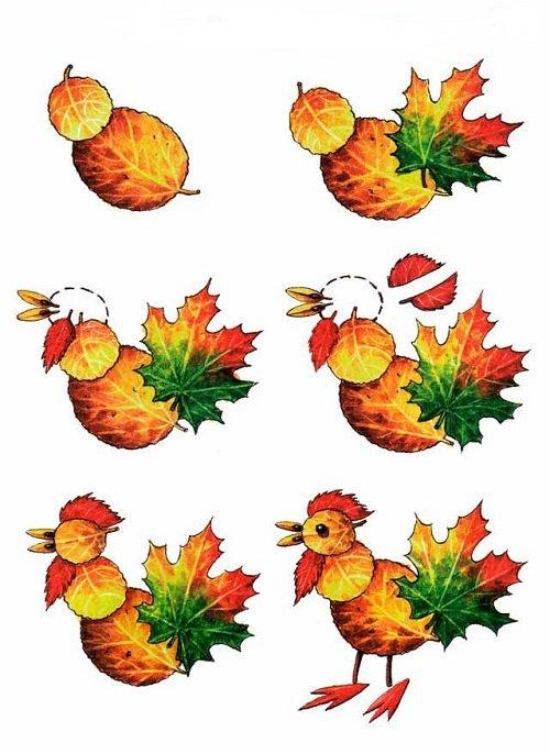Петух из осенних листьев своими руками