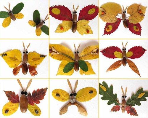бабочки из листьев