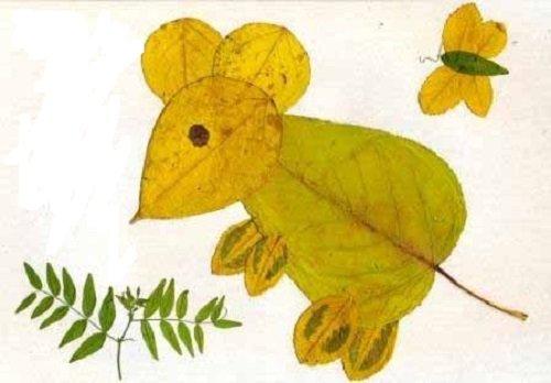 мышь из листьев