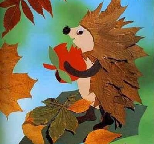 еж из листьев
