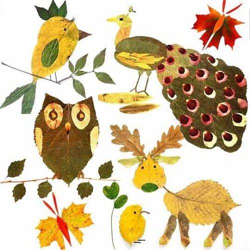животные из листьев