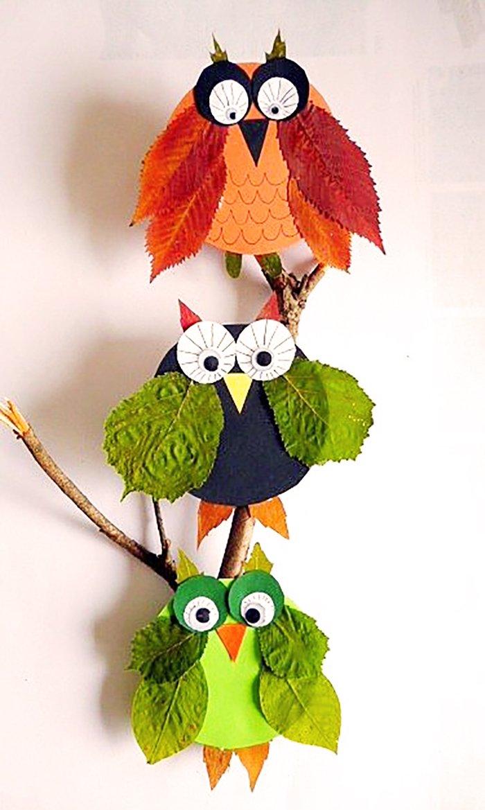 Поделки из листьев своими руками сова