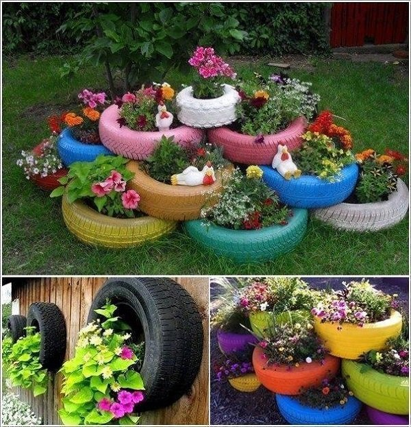 Дизайн для огорода  из шина