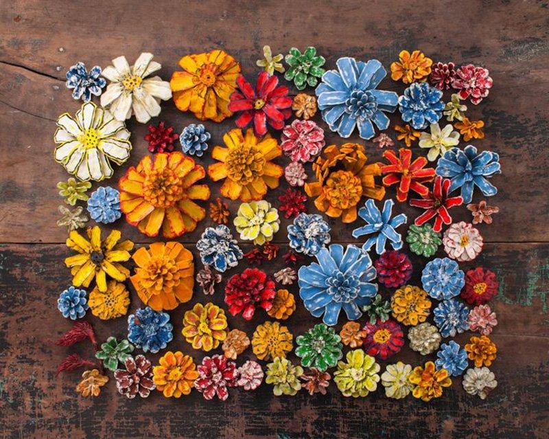 Розы своими руками из шишек 13