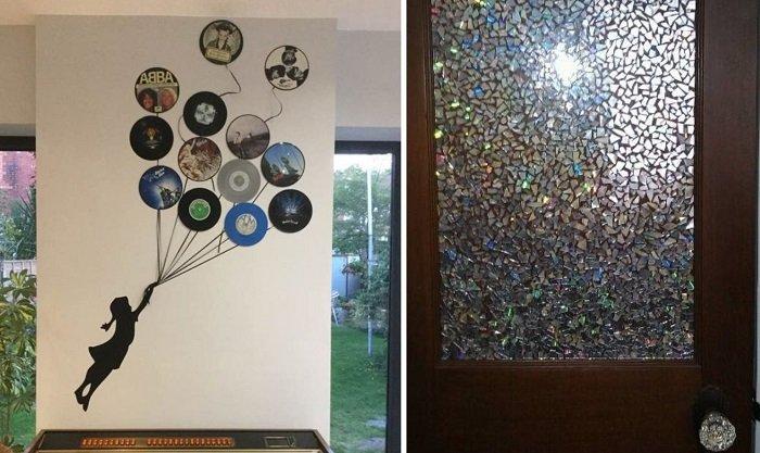 как украсить стены дисками