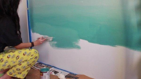 покраска стен омбре