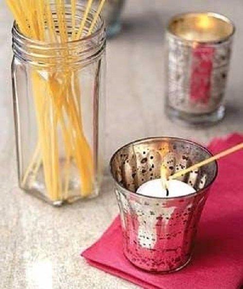 макароны и свеча
