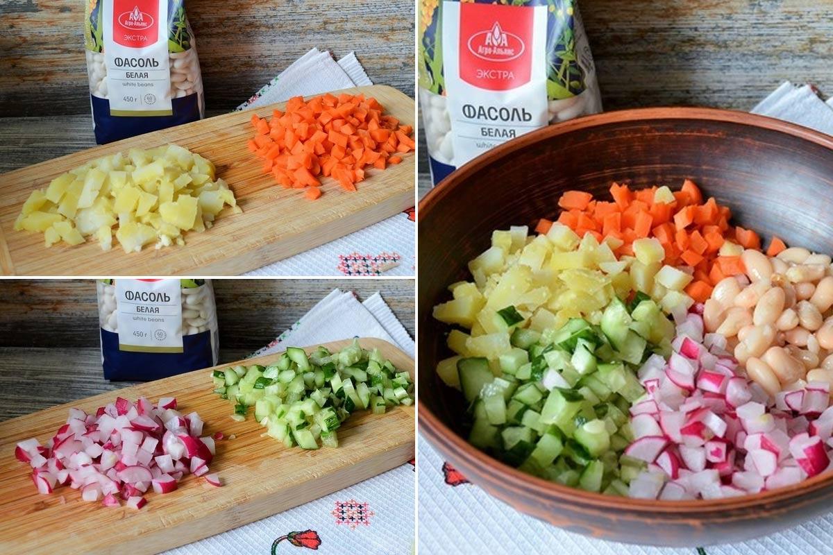постный салат с фасолью и морковью