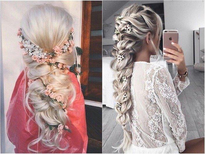 прически с цветами в волосах
