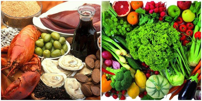 овощи и морепродукты