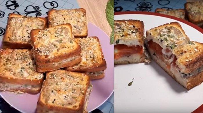 горячий бутерброд с фаршем