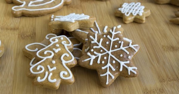 Painted light brown ginger breads, white icing, Christmas cookies, shapes - star, tree, horse