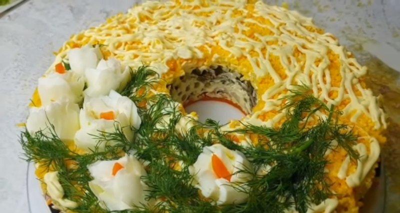 мясной салат к новому году