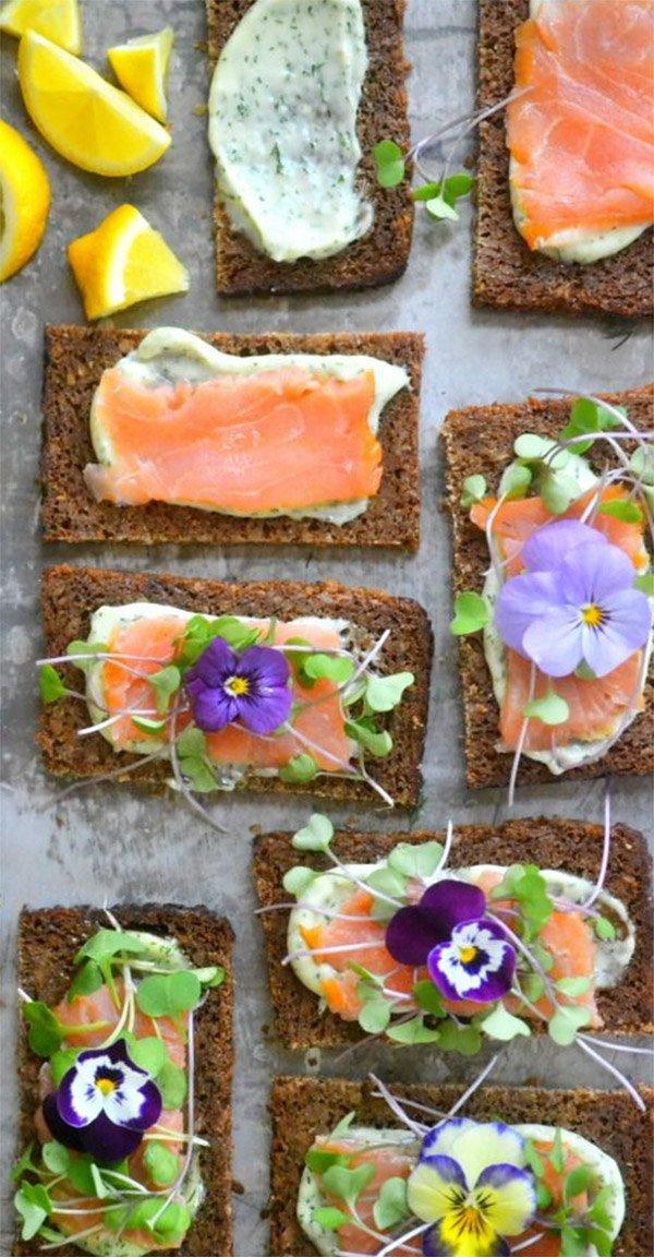 как украсить бутерброды с красной рыбой