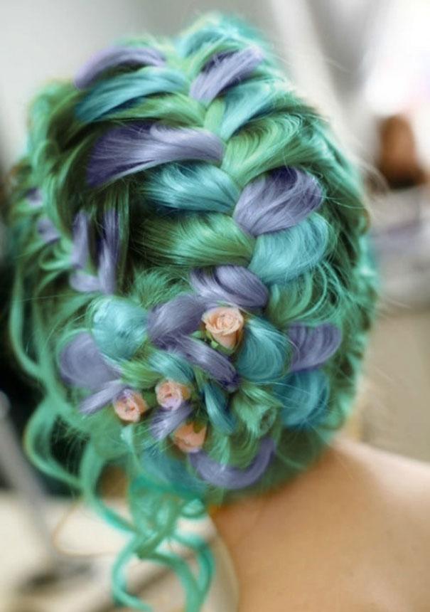 радужные волосы