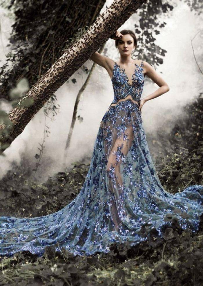 вышитые длинные платья