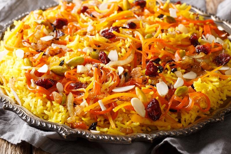 вкусный иранский плов с персиками
