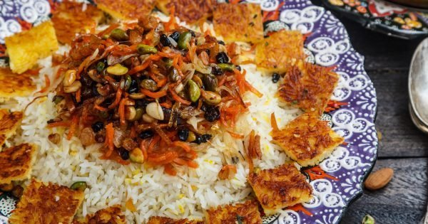 Jeweled rice close view, iranian pilaf with tahdig.
