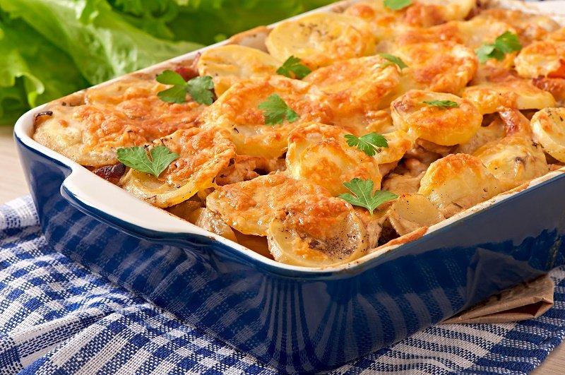 рецепт картофельной запеканки с курицей и сыром