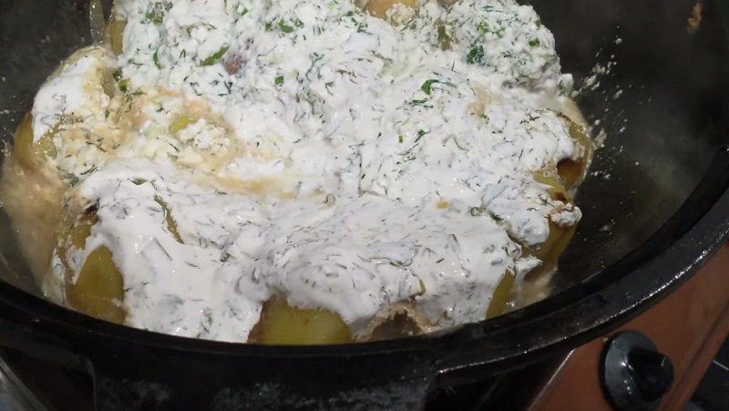 картошка в казане с мясом