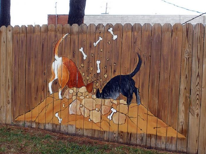 рисунки на бетонном заборе