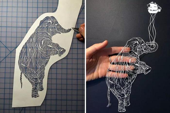 рисунки ножом на бумаге