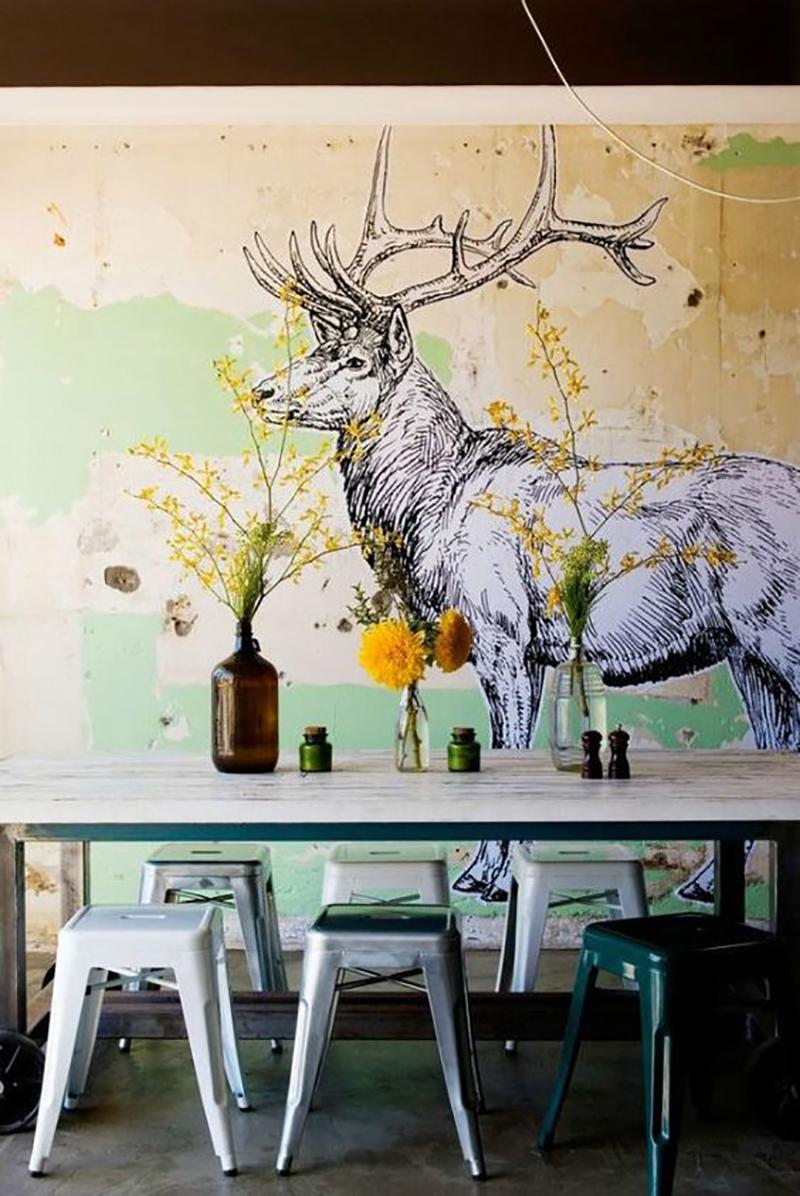 Роспись на стенах в интерьере своими руками 60