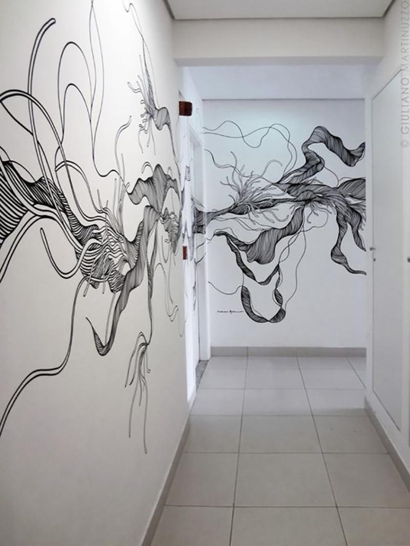 nástenné maľby v modernom interiéri
