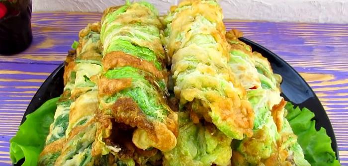рулеты из пекинской капусты в кляре