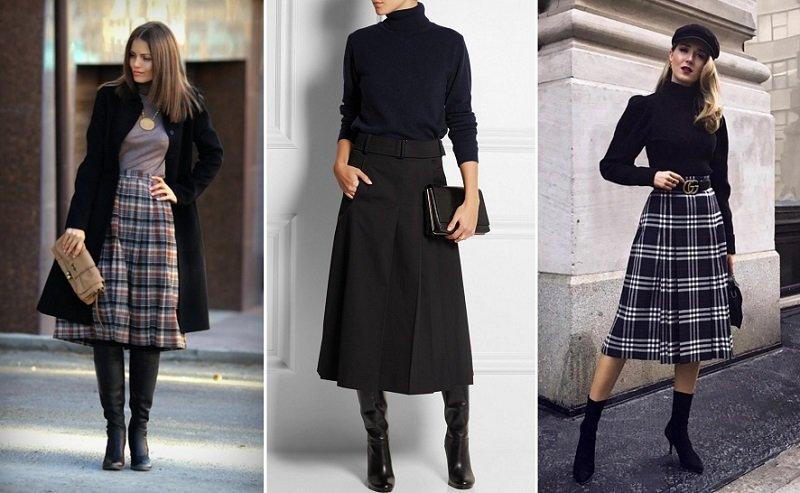 с чем носить кожаную юбку зимой