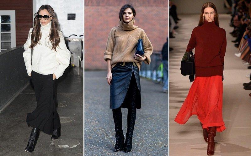 с чем носят длинные юбки зимой