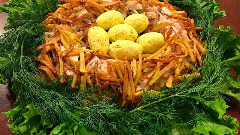 салат гнездо глухаря с болгарским перцем