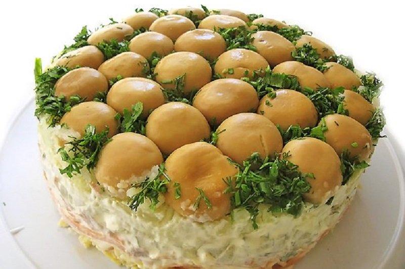 Салат грибная поляна с шампиньонами пошаговый рецепт с