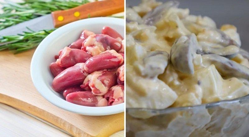 Как приготовить салат из куриных сердечек дома