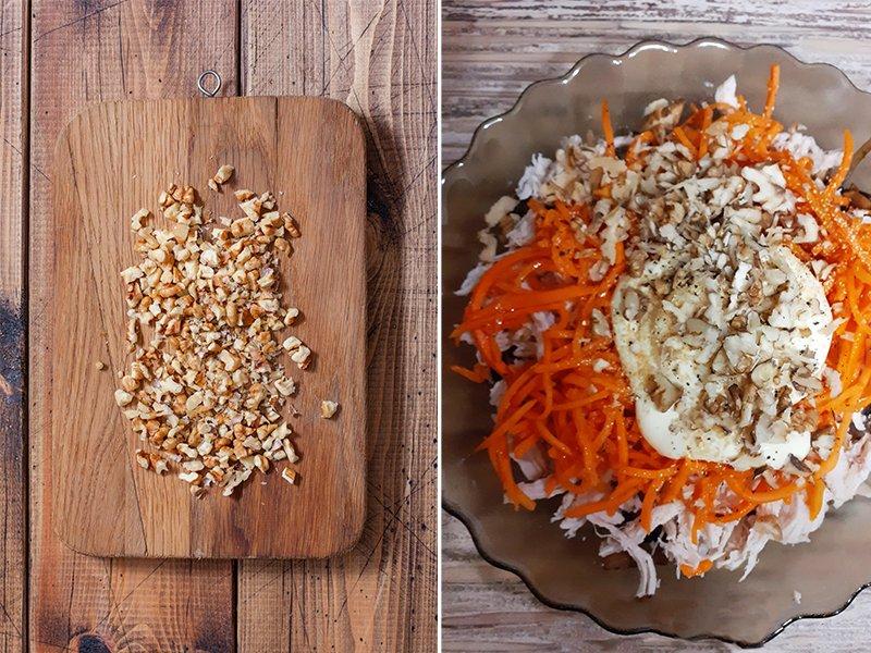 салат с курицей шампиньонами и корейской морковью