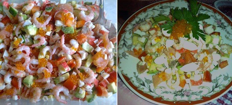 салат с красной рыбой вареной