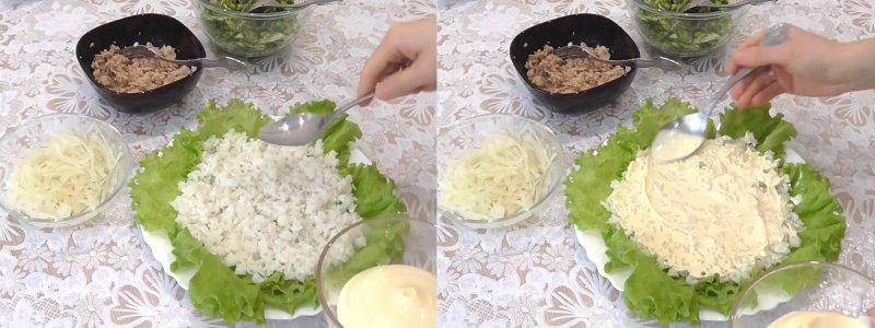 салат из горбуши с рисом и огурцом