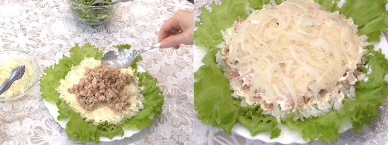 салат из рыбных консервов с рисом и огурцом