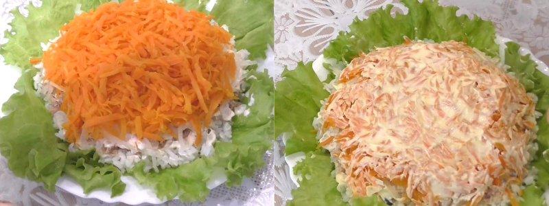 салат из консервированной горбуши с рисом и огурцом
