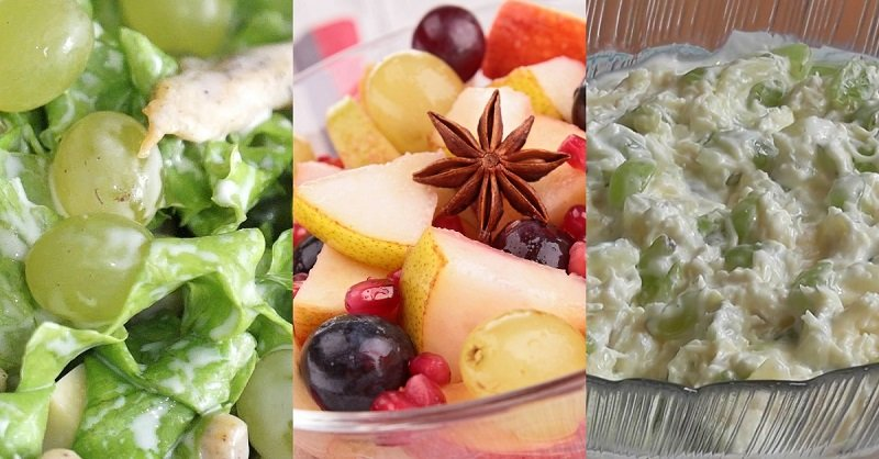 салат с виноградом и сухариками