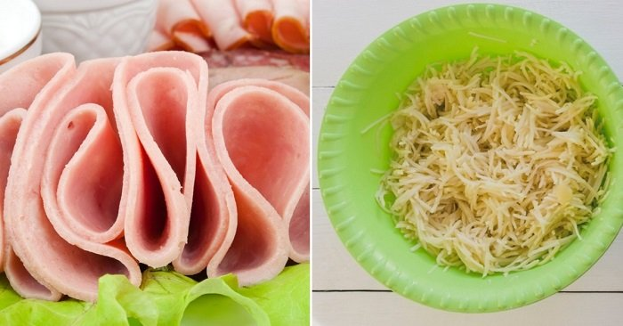 салат с жареной картошкой и мясом