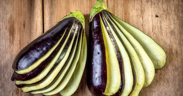Eggplant on wooden background