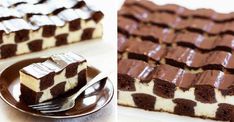 творожный шахматный торт