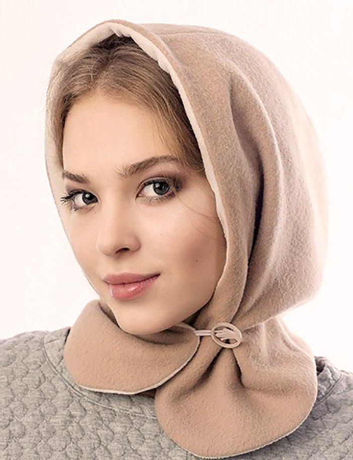 шапка капор вязаная