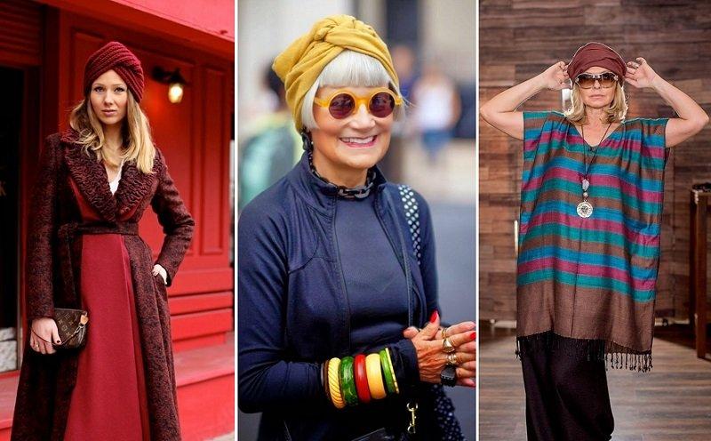 модные вязаные шапки для женщин за 50